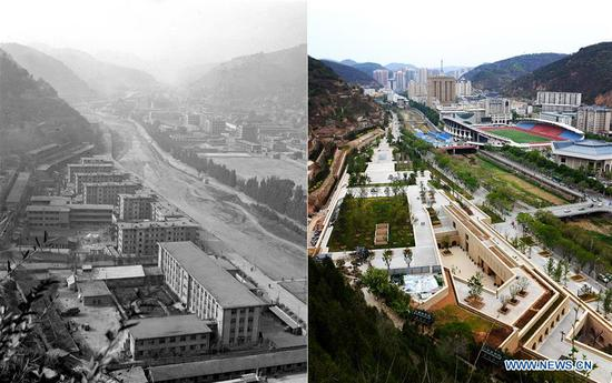 Combo photo shows a view along the Nanhe River in Yan'an, northwest China's Shaanxi Province on Dec. 26, 1983 (L, file photo) and on May 5, 2019 (R, taken by Liu Xiao) respectively. Yan'an, a former revolutionary base of the Communist Party of China (CPC), is no longer labeled