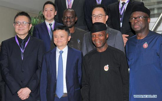 Jack Ma (2nd L, Front), the founder of China's e-commerce giant Alibaba, meets with Nigerian Vice President Yemi Osinbajo (2nd R, Front) in Abuja, Nigeria, on Nov. 14, 2019. Jack Ma pledged on Thursday to promote an inclusive digital economy in Africa. (Photo by Olatunji Obasa/Xinhua)