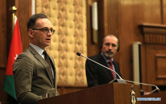 German Foreign Minister Heiko Maas (L) speaks during a joint press conference with his Jordanian counterpart Ayman Safadi in Amman, Jordan, on Jan. 13, 2020. Visiting German Foreign Minister Heiko Maas on Monday called for tension de-escalation in the Middle East. (Photo by Mohammad Abu Ghosh/Xinhua)