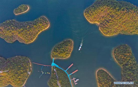 Aerial photo taken on Nov. 9, 2019 shows a view of the Lushan Xihai Lake in east China's Jiangxi Province. (Xinhua/Zhou Mi)