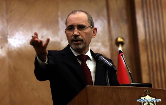 Jordanian Foreign Minister Ayman Safadi speaks during a press conference in Amman, Jordan, on Nov. 11, 2019. Ayman Safadi said on Monday that the country's ambassador to Israel has been recalled as Israel continues to detain two Jordanians. (Photo by Mohammad Abu Ghosh/Xinhua)