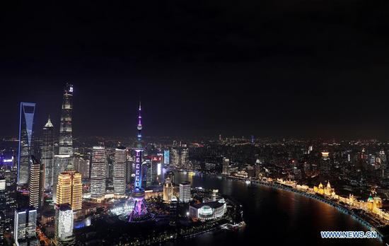 Photo taken on Oct. 26, 2020 from the Sinar Mas Plaza shows a view along the Huangpu River in Shanghai, east China. A light show will be held on Nov. 5 to celebrate the opening of the third China International Import Expo (CIIE), which will take place in Shanghai from Nov. 5 to 10. (Xinhua/Fang Zhe)