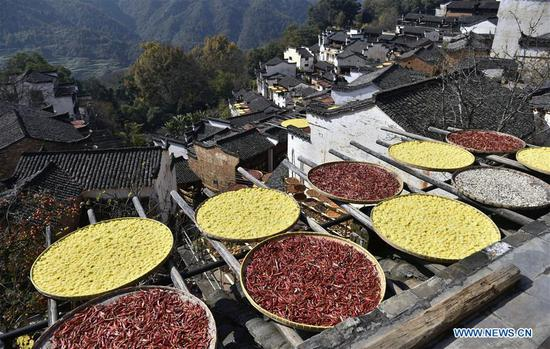 Photo taken on Nov. 23, 2018 shows scenery of Huangling Village in Wuyuan County, east China's Jiangxi Province. (Xinhua/Dong Naide)