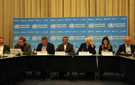 Photo taken on Jan. 30, 2020 shows a press conference held by the World Health Organization (WHO) in Geneva, Switzerland. The World Health Organization (WHO) on Thursday said that the novel coronavirus outbreak has become a Public Health Emergency of International Concern (PHEIC). However, the UN health body stressed that it does not recommend limiting trade and travel. It also once again spoke highly of China's prevention and containment measures. (Xinhua/Chen Junxia)