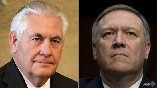 Former US Secretary of State Rex Tillerson (left) was replaced by CIA director Mike Pompeo. (Photos: JOSEPH EID, JIM WATSON/AFP)