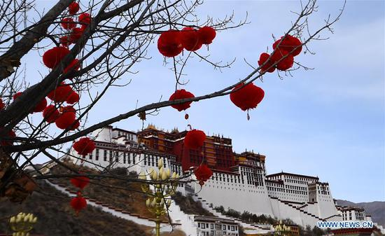 Decorations are hung from a tree in front of the Potala Palace in Lhasa, capital of southwest China's Tibet Autonomous Region, Feb. 12, 2018, to greet the Spring Festival and Tibetan New Year. (Xinhua/Chogo)