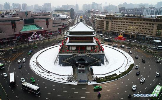 Aerial photo taken on Jan. 7, 2018 shows the snow-covered Bell Tower in Xi'an, capital of northwest China's Shaanxi Province. After days of rain and snow, Xi'an greeted sunny weather on Sunday. (Xinhua/Liu Xiao)