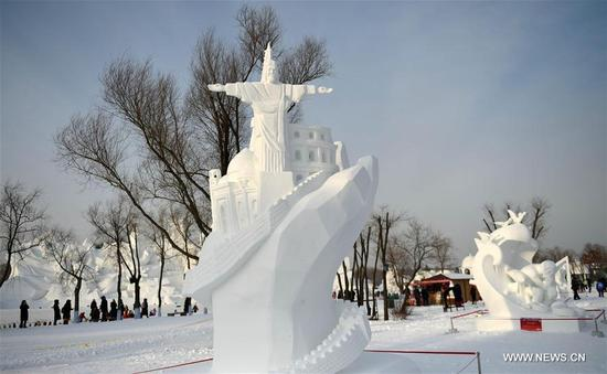 The work from Mongolia Team Two, A Wonderful Hand, wins the second prize at the 23rd Harbin International Snow Sculpture Competition in Harbin, capital of northeast China's Heilongjiang Province, Jan. 13, 2018. The four-day competition concluded here on Saturday, with a total of 25 teams from home and abroad participating in the game. (Xinhua/Wang Jianwei)