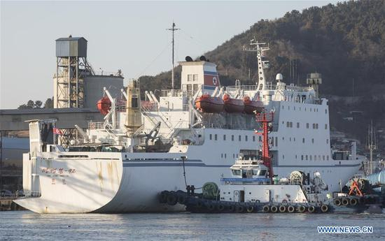 The passenger ferry Mangyongbong-92, carrying performing squad of the Democratic People's Republic of Korea (DPRK), arrives at the Mukho Port in South Korea's eastern coast, on Feb. 6, 2018. The 140-member Samjiyon orchestra is slated to hold concerts in Gangneung, an east city near PyeongChang where the 23rd Winter Olympics and Paralympic Games will be held, on Thursday and in South Korea's capital Seoul on Sunday to celebrate the Winter Olympics. (Xinhua/Lee Sang-ho)