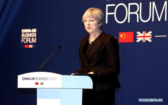 British Prime Minister Theresa May attends the China-UK Business Forum in Shanghai, east China, Feb. 2, 2018. (Xinhua/Fan Jun)