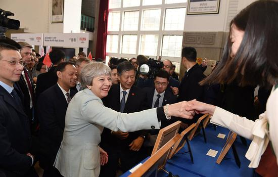 UK Prime Minister Theresa May visits the Wuhan University in Wuhan, Central China's Hubei Province, Jan. 31, 2018. Photo: Xinhua