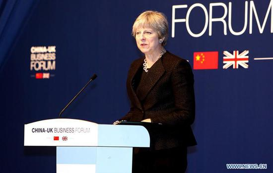 UK Prime Minister Theresa May attends the China-UK Business Forum in Shanghai, East China, Feb. 2, 2018. Photo: Xinhua