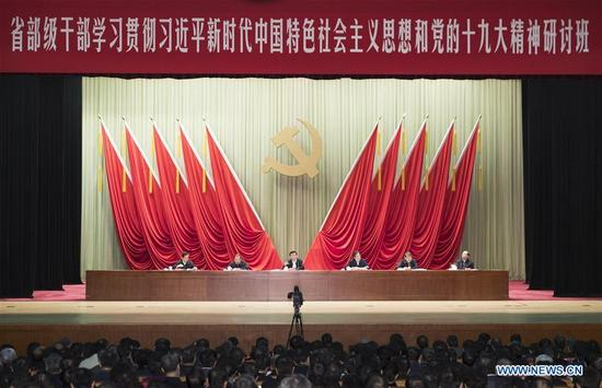 Wang Huning, a member of the Standing Committee of the Political Bureau of the Communist Party of China (CPC) Central Committee, attends the opening of a course at the CPC Central Committee Party School for provincial and ministerial officials to study and implement the Xi Jinping Thought on Socialism with Chinese Characteristics for a New Era and the spirit of the 19th CPC National Congress in Beijing, capital of China, Dec. 6, 2017. (Xinhua/Ding Haitao)