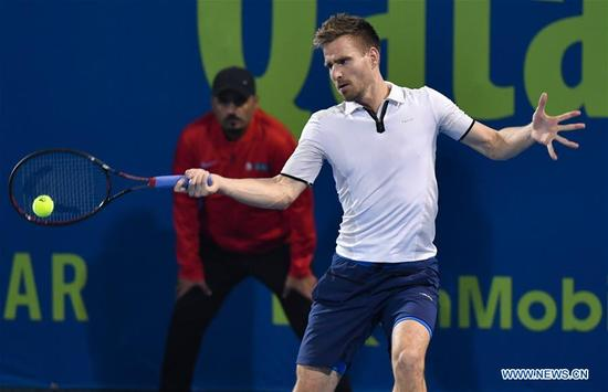 Peter Gojowczyk of Germany hits a return during the first round match against Filip Krajinovic of Serbia at the ATP Qatar Open in Doha, Qatar, on Jan. 2, 2018. Peter Gojowczyk won 2-0. (Xinhua/Nikku)
