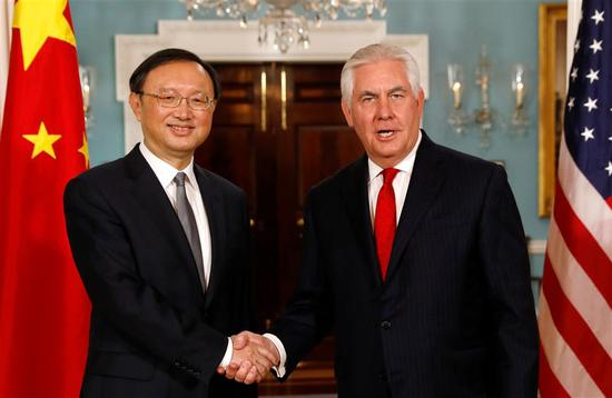 US Secretary of State Rex Tillerson (R) meets with Chinese State Councilor Yang Jiechi at the State Department in Washington, US, on February 8, 2018.
