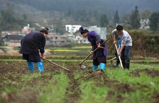 Villagers work at a field in Zhanliang Village of Longquan Township in Danzhai County, southwest China's Guizhou province, March 13, 2018. (Xinhua/Huang Xiaohai)