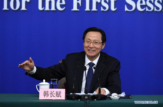 Chinese Minister of Agriculture Han Changfu anwsers questions at a press conference on implementation of the rural revitalization strategy and promotion of transformation and upgrading of agriculture during the first session of the 13th National People's Congress in Beijing, capital of China, March 7, 2018. (Xinhua/Shen Hong)