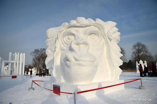 The work from Team Korea, I Am King, wins the third prize at the 23rd Harbin International Snow Sculpture Competition in Harbin, capital of northeast China's Heilongjiang Province, Jan. 13, 2018. The four-day competition concluded here on Saturday, with a total of 25 teams from home and abroad participating in the game. (Xinhua/Wang Jianwei)