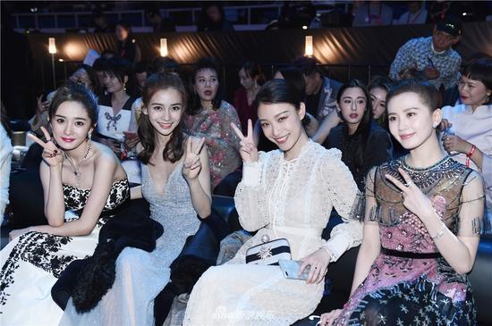 Yang Mi, Angelababy, Ni Ni and Liu Shishi at 2017 Weibo Award Ceremony, Beijing, Jan. 18, 2018. (Photo/Sina)