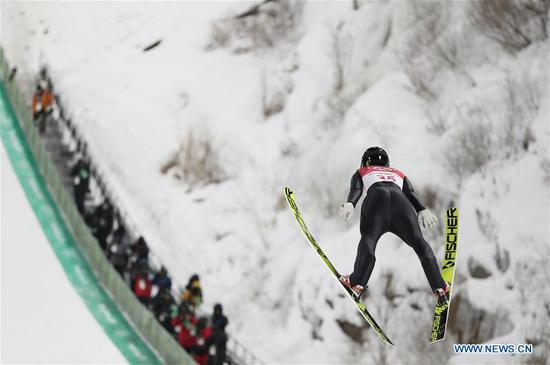 Maren Lundby from Norway competes during the ladies' normal hill individual event of ski jumping at 2018 PyeongChang Winter Olympic Games at Alpensia Ski Jumping Centre, PyeongChang,South Korea, Feb. 12, 2018. Maren Lundry claimed champion with 264.6 points. (Xinhua/Bai Xuefei)