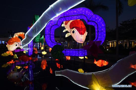 Festive lanterns are displayed during a lantern fair to greet the upcoming Spring Festival in Hong Kong, south China, Feb. 12, 2018. The Spring Festival, or the Chinese Lunar New Year, falls on Feb. 16 this year. (Xinhua/Lo Ping Fai)