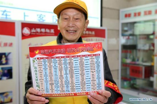 Volunteer Han Derong diaplays a bus route map at the Natong East Bus Station in Nantong, east China's Jiangsu Province, Dec. 5, 2017, the international volunteer day. (Xinhua/Xu Congjun)