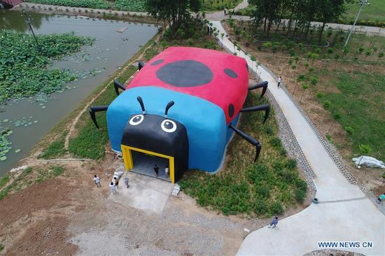 Photo taken on July 16, 2017 shows a ladybug-shaped public toilet in Xiangyang, central China's Hubei Province. The Chinese government launched its