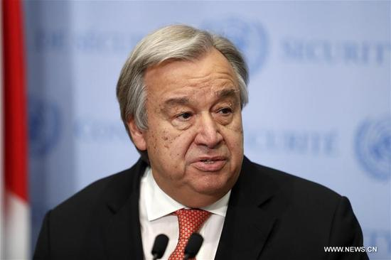 "UN Secretary-General Antonio Guterres reads a statement at the UN headquarters in New York, on Dec. 6, 2017. UN Secretary-General Antonio Guterres said Wednesday he was ""against any unilateral measures that would jeopardize the prospect of peace for Israelis and Palestinians."" He made the remarks immediately after U.S. President Donald Trump announced he formally recognizes Jerusalem as the capital of Israel. (Xinhua/Li Muzi)"
