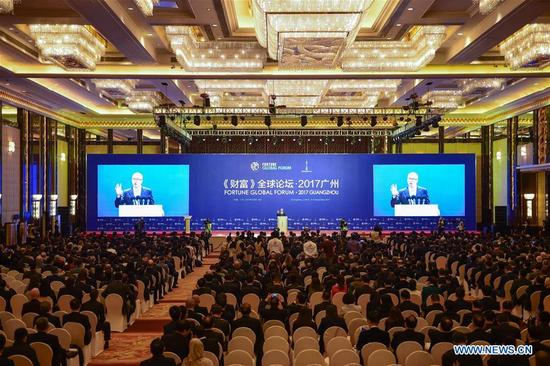 The 2017 Fortune Global Forum kicks off in Guangzhou, south China's Guangdong Province, Dec. 6, 2017. (Xinhua/Liu Dawei)