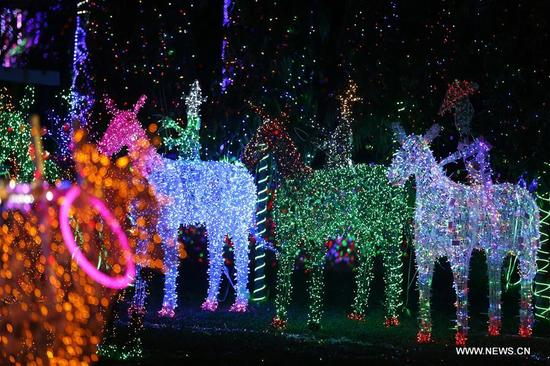 The Dream World Lighting Festival is held at the People's Park in Yangon, Myanmar, Dec. 7, 2017. (Xinhua/U Aung)