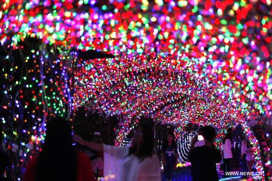 People visit the Dream World Lighting Festival at the People's Park in Yangon, Myanmar, Dec. 7, 2017. (Xinhua/U Aung)