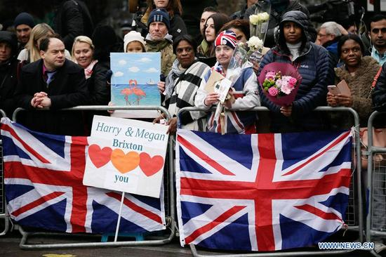 People wait for Prince Harry and Meghan Markle at Pop Brixton in London, Britain, on Jan. 9, 2018. Prince Harry and Meghan Markle are to marry in a ceremony at Windsor castle on May 19. (Xinhua/Tim Ireland)