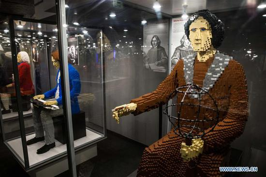 LEGO composer Johann Sebastian Bach (L), composer Fryderyk Chopin (C) and LEGO astronomer Nicolaus Copernicus are displayed at a LEGO exhibition in Warsaw, capital of Poland, on Feb. 4, 2018. A major LEGO exhibition, made up entirely from Lego with 10 million pieces and containing notable creations, is held at Warsaw National Stadium from Jan. 29 to March 25. (Xinhua/Chen Xu)