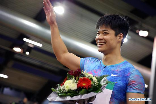 Su Bingtian of China reacts after the Men's 60m final of the 2018 IAAF World Indoor Tour in Dusseldorf, Germany, on Feb. 6, 2018. Su Bingtian won the gold with 6.43 seconds. (Xinhua/Luo Huanhuan)