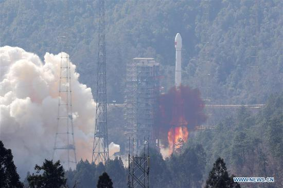 China sends two satellites into orbit on a single carrier rocket for its domestic BeiDou Navigation Satellite System (BDS) in Xichang, southwest China's Sichuan Province, Feb. 12, 2018. The twin satellites, which form a network with four previously launched BeiDou-3 satellites, were the fifth and sixth satellites in the BeiDou-3 family. (Xinhua/Liang Keyan)