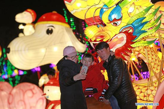 Tourists pose for photos with festive lanterns during a lantern fair to greet the upcoming Spring Festival in Zhengding County of Shijiazhuang, capital of north China's Hebei Province, Feb. 12, 2018. The Spring Festival, or the Chinese Lunar New Year, falls on Feb. 16 this year. (Xinhua/Zhan Xincheng)