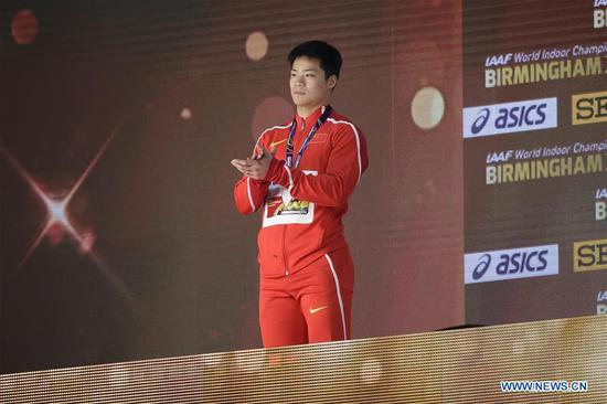 Silver medalist Su Bingtian of China reacts during the medal ceremony for the men's 60m of the IAAF World Indoor Championships at Arena Birmingham in Birmingham, Britain on March 4, 2018. (Xinhua/Tim Ireland)