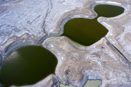 Aerial photo taken on March 8, 2018 shows salt lakes in Yuncheng City, north China's Shanxi Province. (Xinhua/Cao Yang)