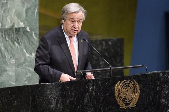 "United Nations Secretary-General Antonio Guterres addresses an observance of International Women's Day under the theme ""Time Is Now: Rural and urban activists transforming women's lives"" at UN headquarters in New York, March 8, 2018. UN Secretary-General Antonio Guterres on Thursday called for action to empower women and girls on the occasion of International Women's Day. (Xinhua/UN Photo/Manuel Elias)"