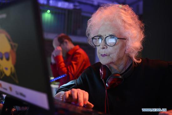 Wirginia Szmyt performs at the Hulakula entertainment hall in Warsaw, Poland, on March 12, 2018. Wirginia Szmyt, also known as DJ Wika, is well known as the Poland's oldest DJ who was born in 1938. At the age of 80, she is still active as a radio and party DJ performer. (Xinhua/Jaap Arriens)