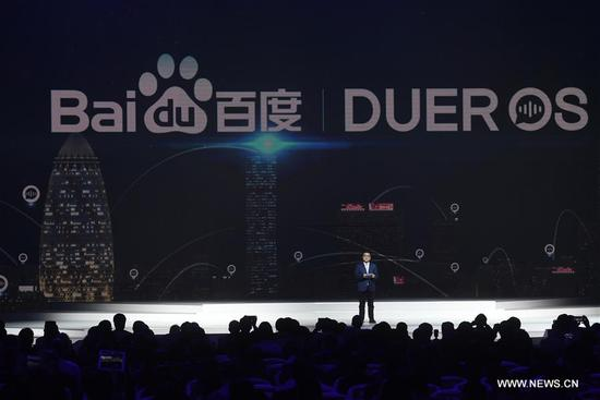 Zhang Yaqin, president of Baidu, introduces applications of artificial intelligence (AI) during the release ceremony for world leading Internet scientific and technological achievements in Wuzhen, east China's Zhejiang Province, Dec. 3, 2017. The Fourth World Internet Conference opened in Wuzhen on Sunday. (Xinhua/Huang Zongzhi)