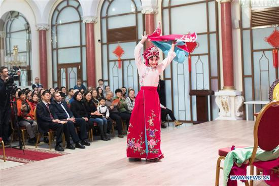 An actress performs Yuju Opera at China Cultural Center in Moscow, Russia, on March 5, 2018. Artists from China's Henan Yuju Opera Theater presented performances here on Monday. (Xinhua/Wu Zhuang)