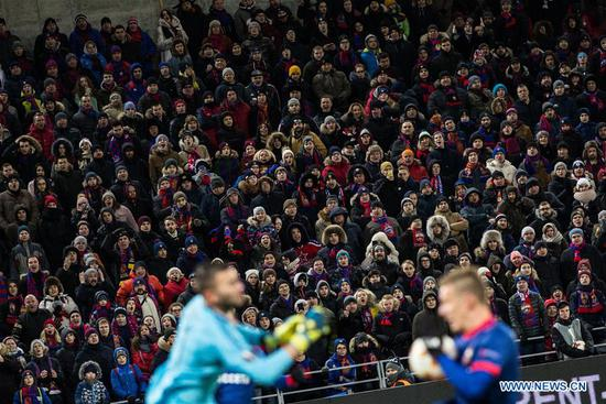 Fans look on during the UEFA Europa League round of 16 first leg match between Russia's CSKA and France's Lyon, in Moscow, Russia, March 8, 2018. Lyon won 1-0. (Xinhua/Wu Zhuang)