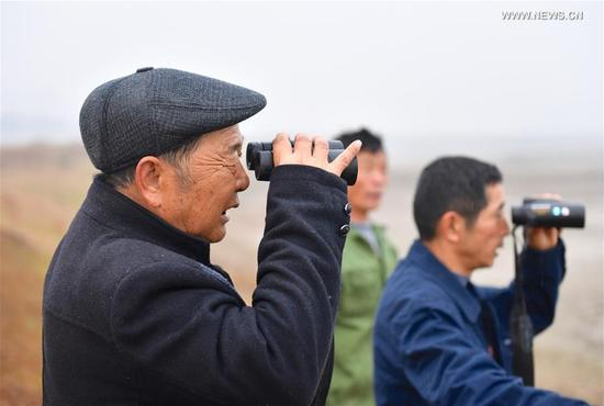 Li Chunru (L) and other volunteers observe birds in Poyang Lake nature reserve, east China's Jiangxi Province, Nov. 28, 2017. Poyang is a seasonal destination for over a million birds every year. Doctor Li Chunru has been voluntarily taken care of migratory birds at Poyang Lake nature reserve for more than 30 years, bringing over 50,000 wounded wild birds out of danger.(Xinhua/Hu Chenhuan)