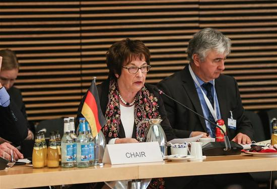 Brigitte Zypries (2nd R), German Federal Minister for Economic Affairs and Energy and Chair of the ministerial meeting of Global Forum on Steel Excess Capacity, delivers a speech during the meeting in Berlin, Germany, on Nov. 30, 2017. China called for more global cooperation in addressing the steel overcapacity across the world at the Ministerial meeting of Global Forum on Steel Excess Capacity held here on Thursday. (Xinhua/Shan Yuqi)