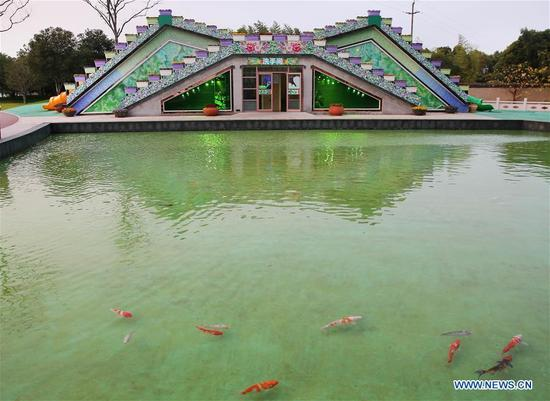 Photo taken on Dec. 4, 2017 shows a public toilet in Zhouji Green Expo Garden in Nantong, east China's Jiangsu Province. The Chinese government launched its
