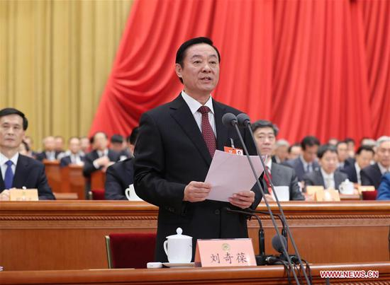 Liu Qibao presides over the second plenary meeting of the first session of the 13th National Committee of the Chinese People's Political Consultative Conference at the Great Hall of the People in Beijing, capital of China, March 8, 2018. (Xinhua/Ding Lin)