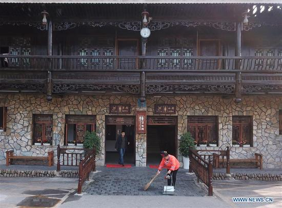 Photo taken on Dec. 5, 2017 shows a public toilet in Xijiang Qianhu Miao Village in Leishan County, southwest China's Guizhou Province. The Chinese government launched its