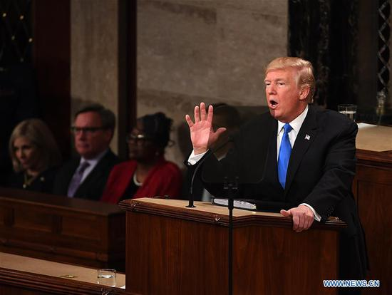 U.S. President Donald Trump delivers his State of the Union address to a joint session of Congress on Capitol Hill in Washington D.C., the United States, Jan. 30, 2018. (Xinhua file photo/Yin Bogu)