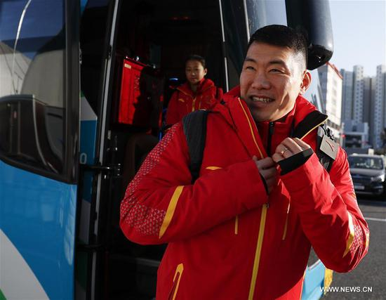 Zhang Hao, China's figure skater arrives at Olympic Village in Gangneung, South Korea, Feb. 6, 2018. The 2018 PyeongChang Olympic Winter Games will kick off here on Feb. 9. (Xinhua/Han Yan)